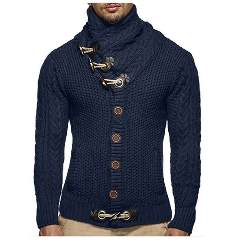 Men Sweater Winter Knit Cardigan Fashion Horn Buckle Thick Cardigan Sweater Tide Boy Warm Thick Sweater Long Sleeve Men Clothes