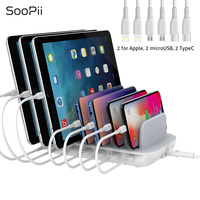 SooPii QC3.0 and PD Fast Charging Desktop Charger 7 Ports Charging Station for Multiple Devices with 7 Short Cables