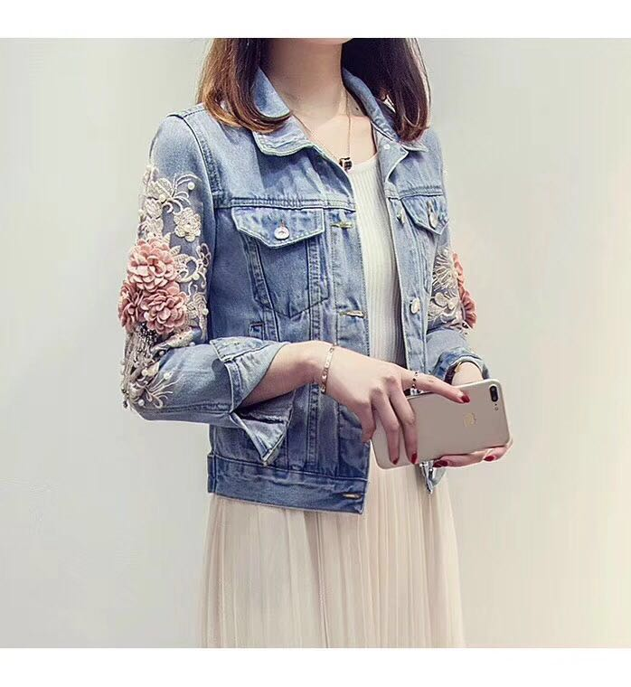 HTB1l3p0PhTpK1RjSZR0q6zEwXXaX 2019 Autumn Women Embroidery Three Dimensional Flowers Pearl Bead Short Denim Coat Woman Long Sleeve Jean Jacket xintiandi