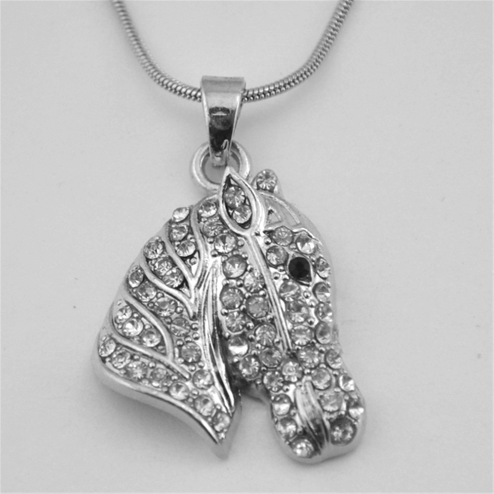 my shape Sparkling Silver Plated Horse Riding Necklace White Rhinestone Crystal Animal Women Jewelry Baby toy Snake chain