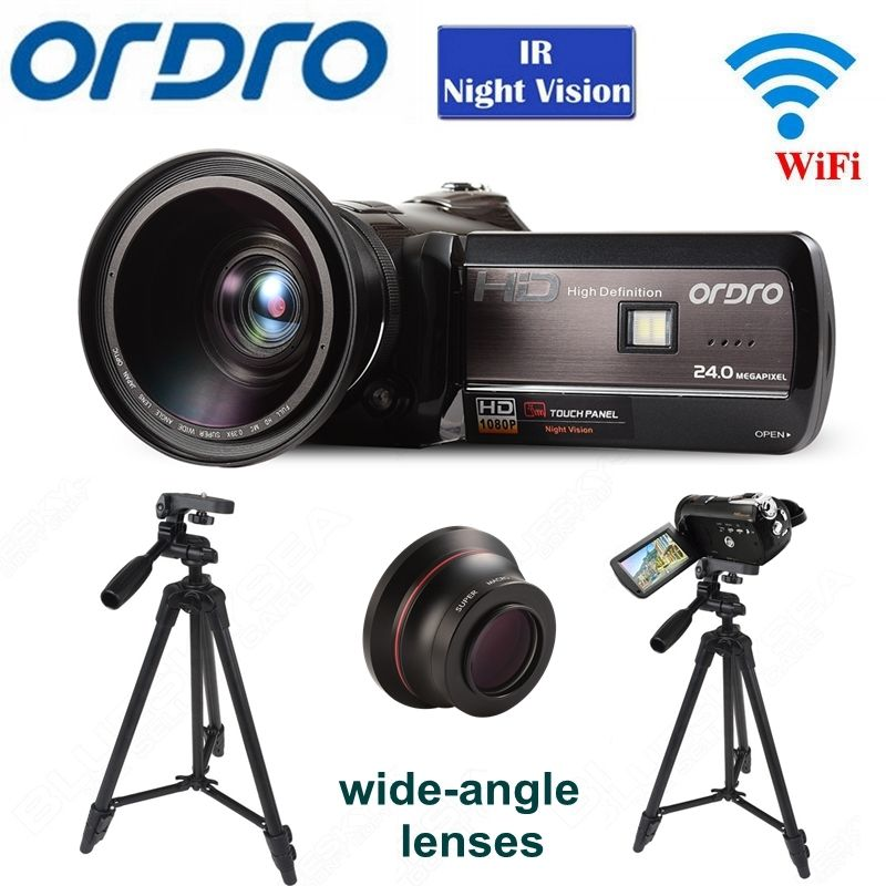 ORDRO HDV-D395 WIFI Full HD 1080P 18X 3.0″Touch LCD Screen Remote Control DVR Digital Camera+Wide-angle Lens+Tripod