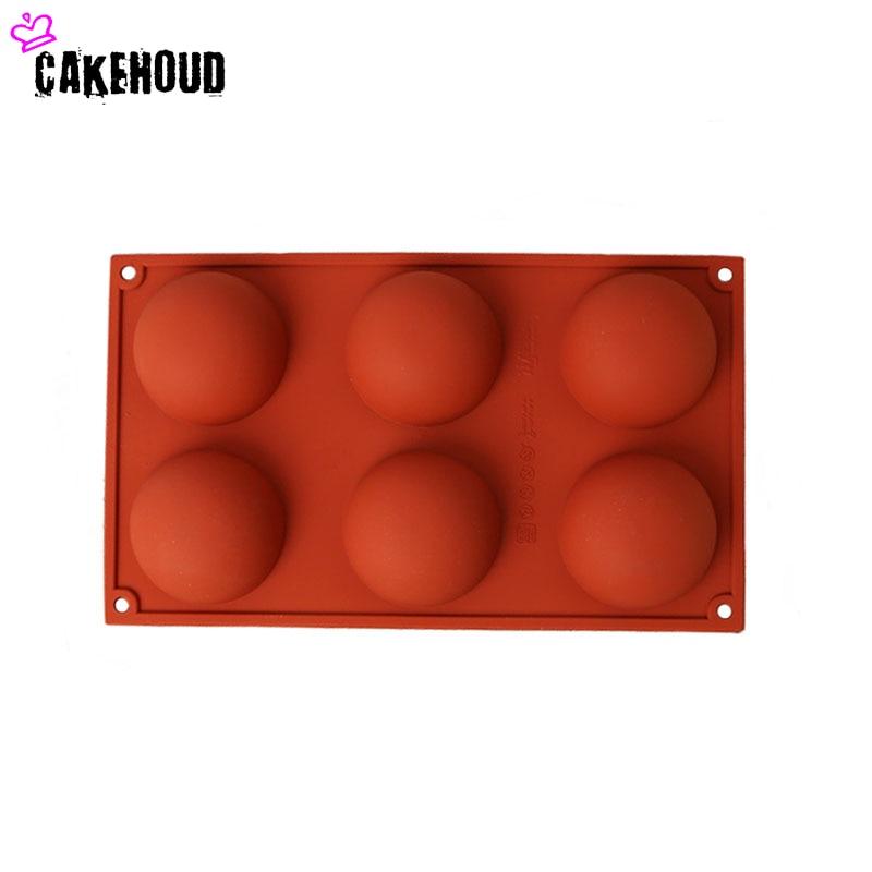 CAKEHOUD Yüksək keyfiyyətli silikon yarı dairəvi 6 çuxurlu DIY - Mətbəx, yemək otağı və barı - Fotoqrafiya 3