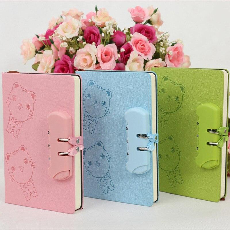 New A5 creative Hard Copybook kawaii password notebook student diary can lock Mini notepad cartoon gift random color 1pc school