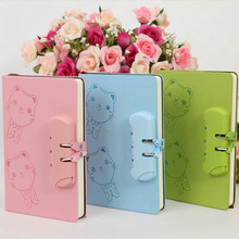 New A5 creative Hard Copybook kawaii password notebook student diary can lock Mini notepad cartoon gift random color 1pc school