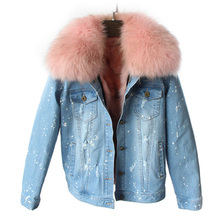 brand 2016 autumn winter jacket coat women Holes Denim jacket real large raccoon fur collar and real Fox fur thick warm Liner