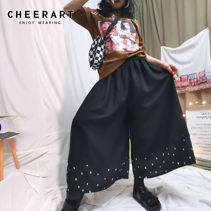 Cheerart 6xl Plus Size Capri   Pants   Women Chiffon Black   Wide     Leg     Pants   Polka Dot Trousers Elastic Waist   Pants   Clothing