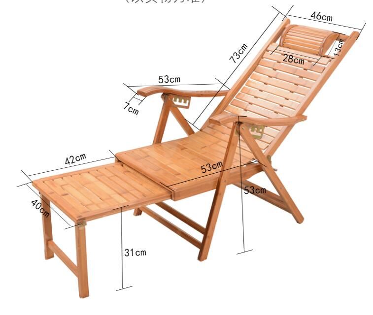 US $136.0 20% OFF|Patio Chaise Lounge Chair Outdoor Beach Reclining Garden Yard Adjustable Recliner Bamboo Furniture Folding Sun Lounger