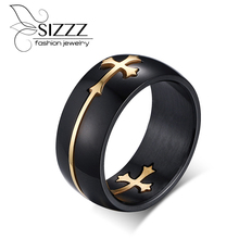 Rings for men detachable cross stainless steel gold silver plated rings black accessories