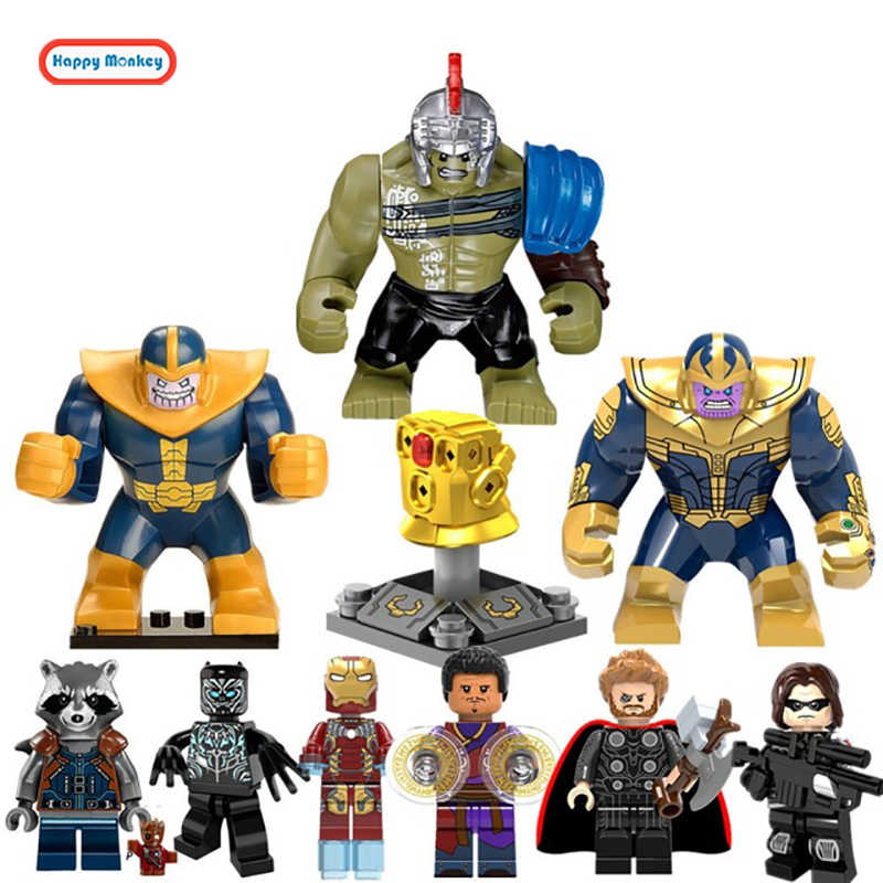 Toys Super Heroes Legoinglys Avengers3 Infinity War Groot Rocket Raccoon Thanos Thor Black Panther Falcon Building Blocks zk30