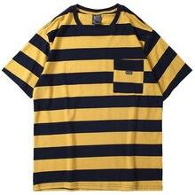 e5428da24565e 2019 nouveau Top noir jaune rayures hommes à manches courtes t-shirt mode  décontracté coton Tee Y890