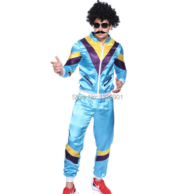 80s Scouser Tracksuit Shell Suit Men Blue Womens Pink Fancy Dress