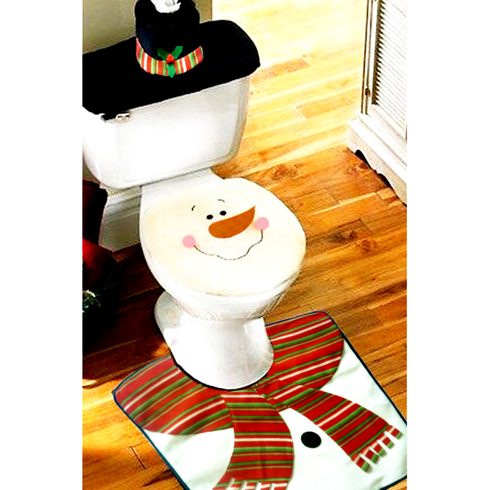 2016 4PCS/Set Santa Toilet Seat Cover And Rug Bathroom Set Christmas Decor  Toilet Cover