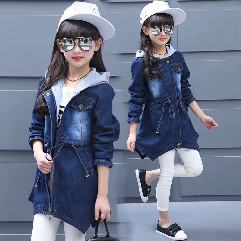 Girls Jean Jackets Kids Casual Denim Outerwear Long Coats Children Students Leisure Hooded Outerwear Windbreaker Outer Garment