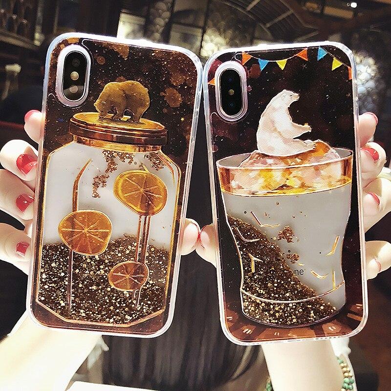 Bear Liquid Quicksand Phone Case For iPhone