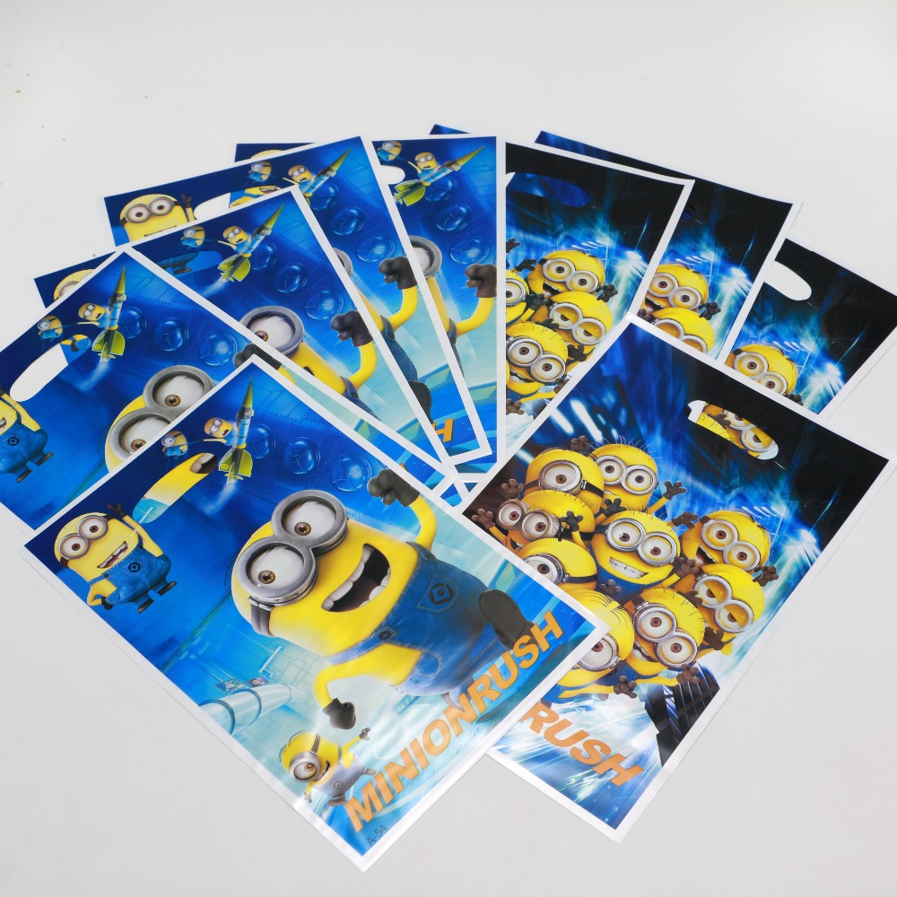 10pcs Lot Minion Birthday Party Decorations Kids Candy Gift Bag Loot Bags Event Supplies P216