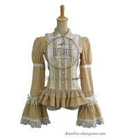 Gothic Victorian Lolita Cosplay Blouse Top Shirt Reenactment Wear Theatre Long Sleeve Lace decorated Classical Costume Halloween