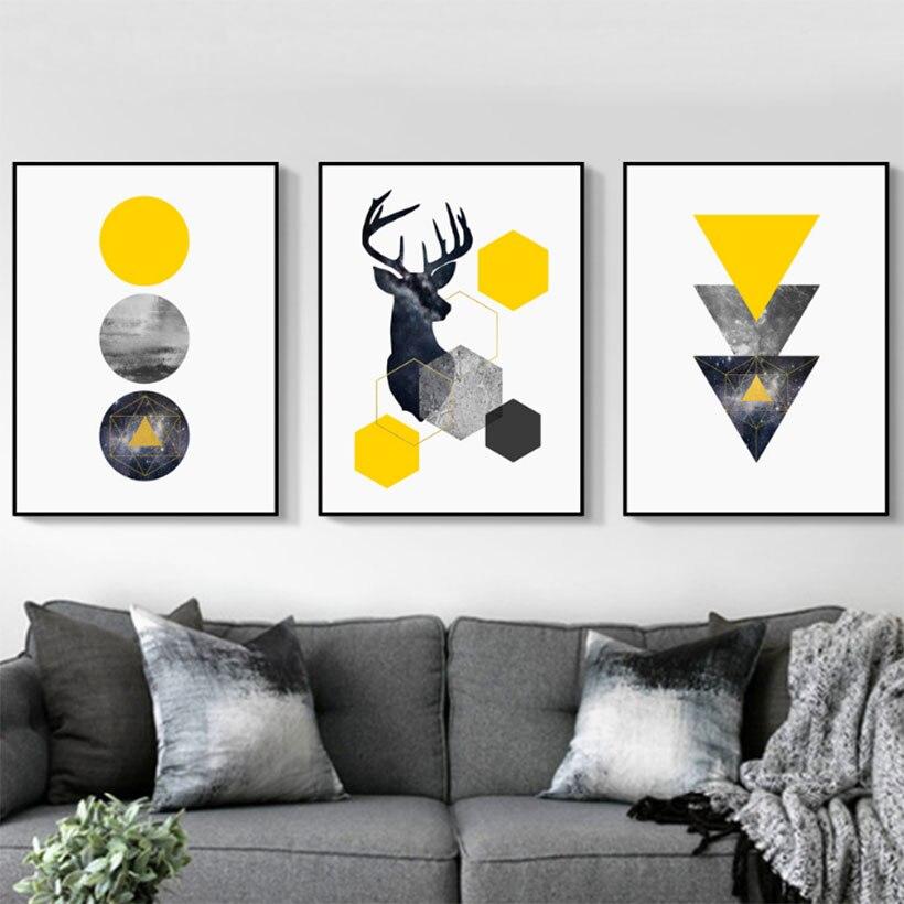 Nordic Art Deer Head Reprodukcje I Plakaty Geometria Dekoracyjne Obrazy Do Salonu Sypialnia Obrazy Olejne Bez Ramki