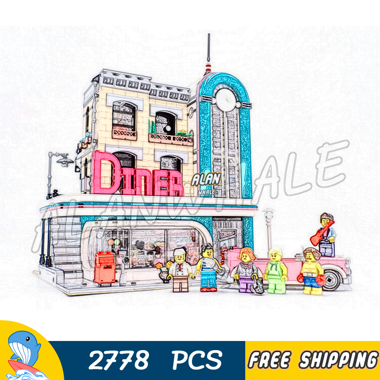 2778PCS City Street 3-level 1950s American Downtown Diner Restaurant 15037 Model Building Block Bricks Compatible With LegoING