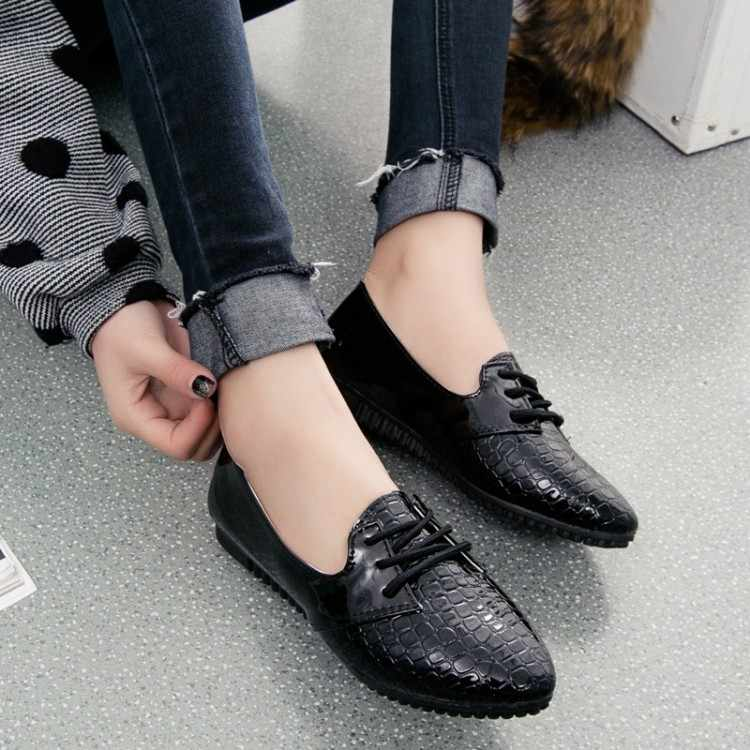 New Spring Women Shoes Size 35-39 Ladies Flats Casual Shoes England Style Women Pu Leather Crocodile Pattern Doug Shoes