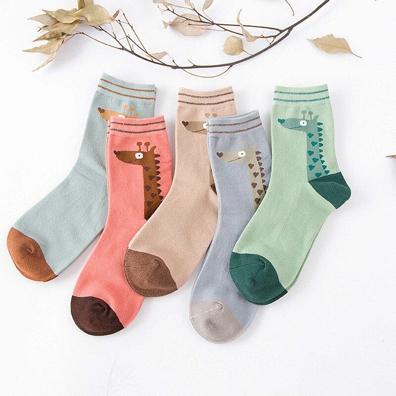 5 Pairs Socks womens striped cotton comfort ladies socks in autumn and winter women