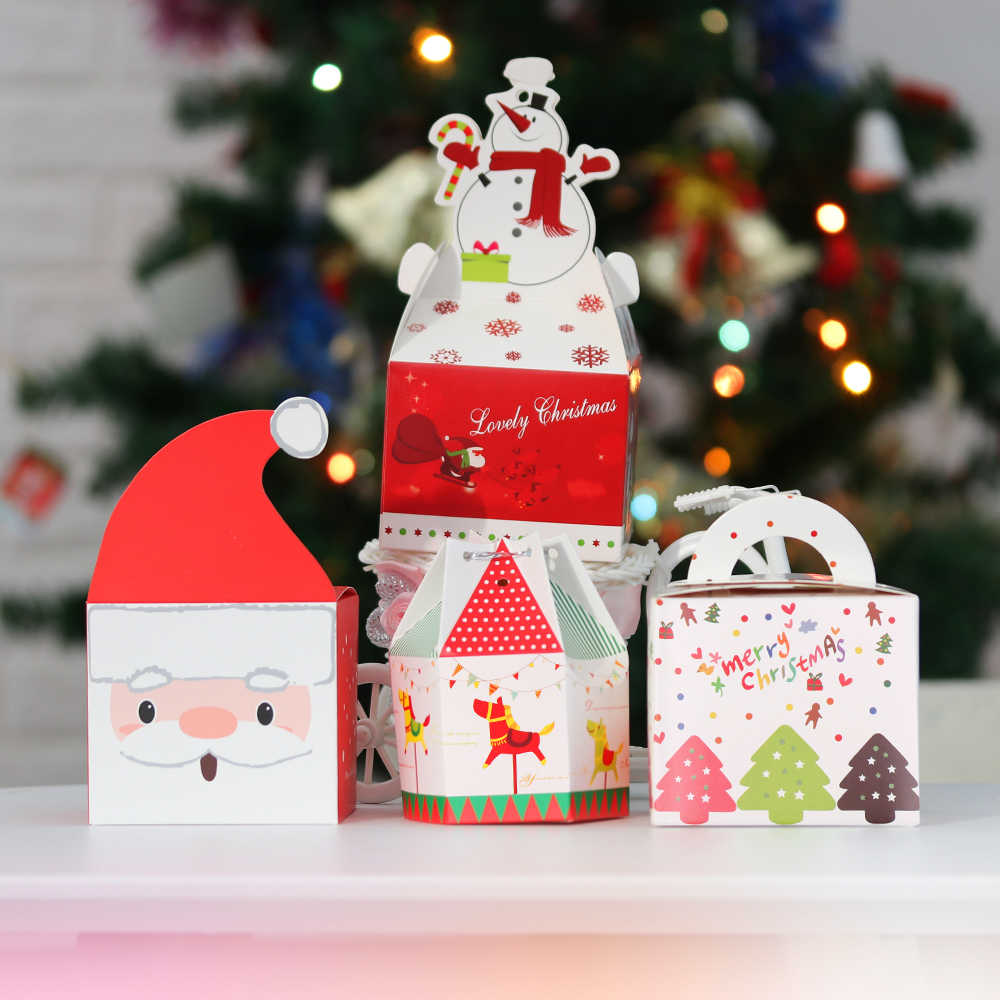 1PCS Christmas Gift Box Beautifully Folded Colorful Christmas Apple Box Christmas Jar Sugar Box Storage Ornament