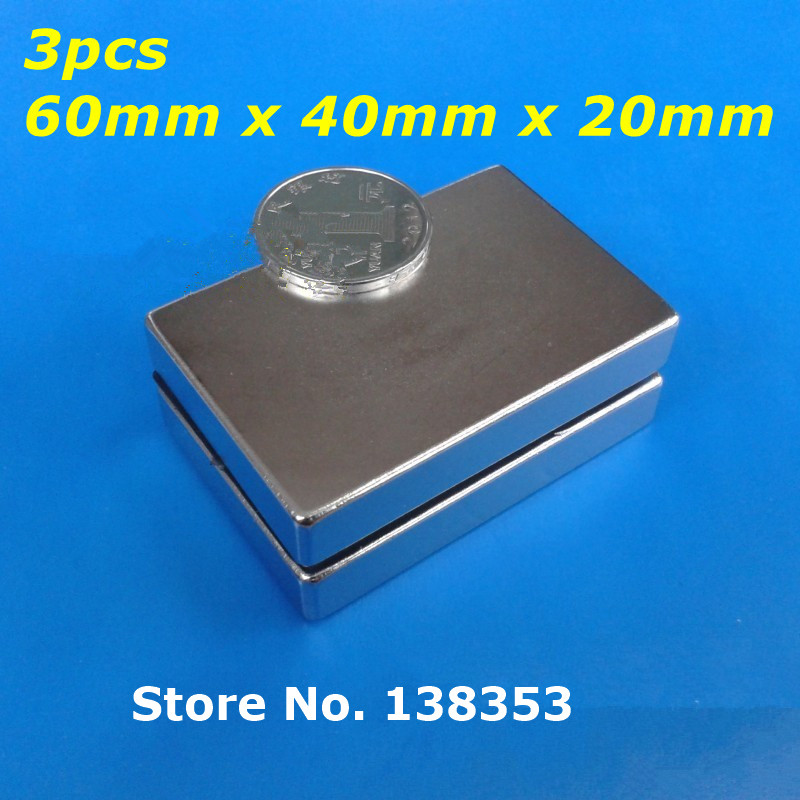 цена Wholesale 3pcs Super Strong Neodymium Rectangle Block Magnets 60mm x 40mm x 20mm N35 Rare Earth NdFeB Cuboid Magnet
