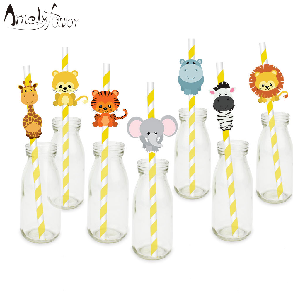 Safari Party Animals Straw 21PCS Paper Straws Jungle Birthday Party Festive Supplies Decoration Paper Drinking Straws Holiday halloween party supplies paper spider lantern decoration