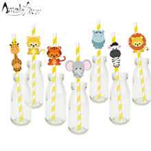 Safari Animals Straw 21PCS Paper Straws Birthday Party Festive Supplies Decoration Paper Drinking Straws Holiday Straws(China)