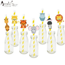 Safari Party Animals Straw 21PCS Paper Straws Jungle Birthday Party Festive Supplies