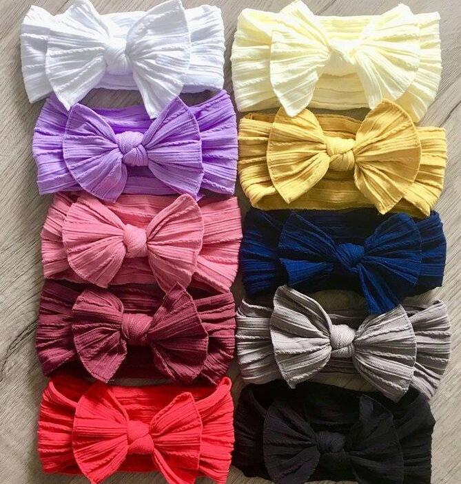 Newborn Kids Cable Knit Wide Nylon Headbands,Knotted Hair Bow Baby Ribbed Turban Headwraps,Children Girls Headwear 30PC/lot