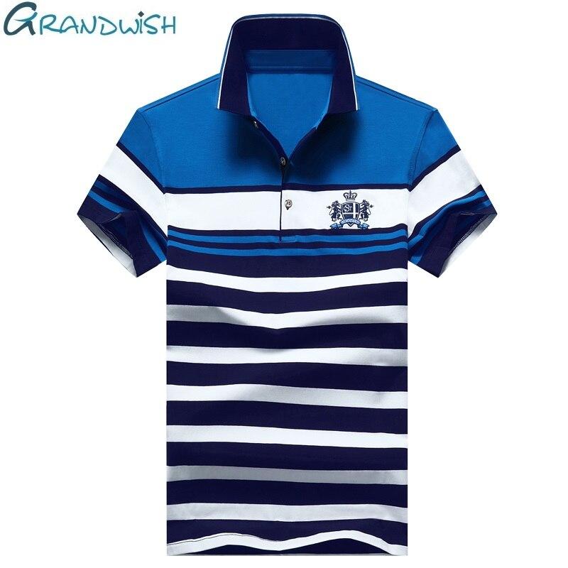 Grandwish Hommes Broderie Polo Chemises Slim Fit Turn-down Col Rayé Polo Chemises Hommes 2018 Nouveau Coton Polo Homme 4XL, DA055