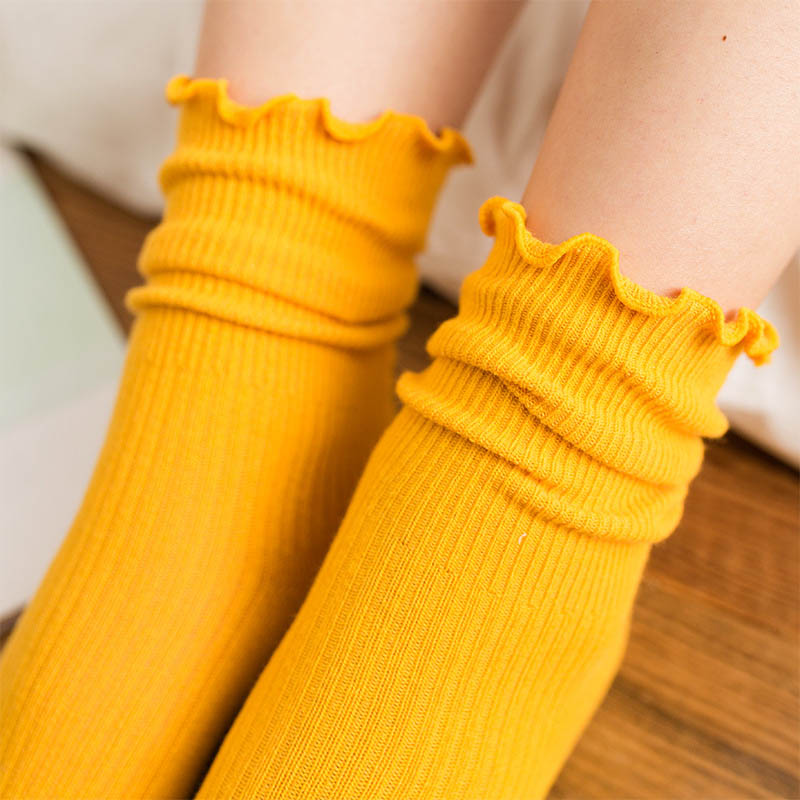 Fashion Leisure Solid Color Flower Side Thin Section Cotton Long Sock Women Retro Shallow Mouth Long Socks Hosiery