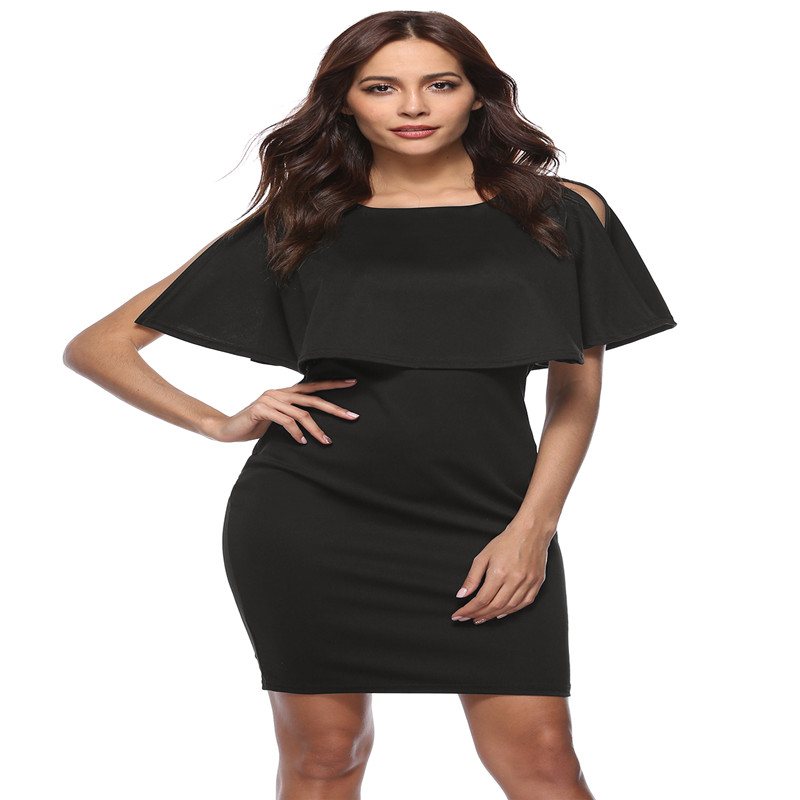 Autumn new popular European and American fashion ruffled style Slim bag hip high waist tight sexy high waist female dress