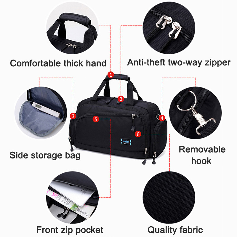 1 Pcs Men Travel Bag Handbag Nylon Zipper Large Capacity Fashion For Outdoor Sport OH66