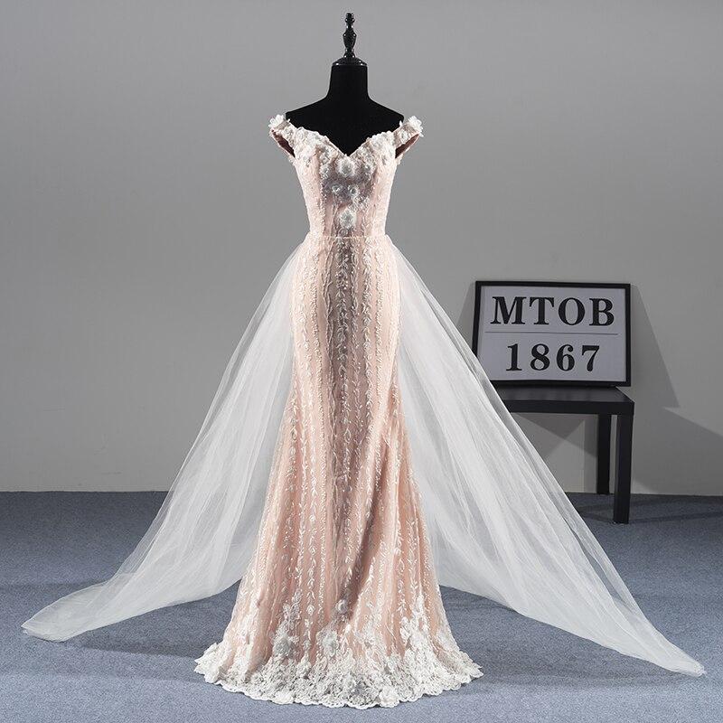Nouveau Magnifique Sirène Dentelle Robes De Mariage train Détachable Sexy De Luxe Élégant robes De Mariée robe de noiva MTOB1811