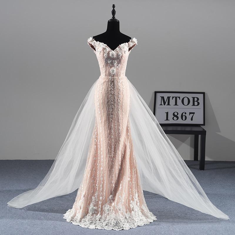 Nuova Splendida Sirena Pizzo Abiti Da Sposa treno Staccabile Sexy Elegante di Lusso abiti Da Sposa vestido de noiva MTOB1811