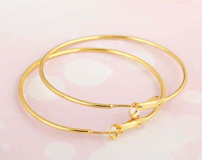 LEMOER Fashion Gold Silver Color Shiny Super Big Circle Hoop Earring Basketball Wives Hoop Earrings for Women 2017 brincos ouro