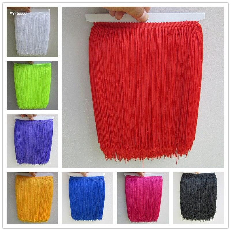 New 10 Yard/Lot 25CM Long Polyester Lace Tassel Fringe Lace Trim Ribbon Sew Latin Dress Stage Garment Curtain DIY Accessories