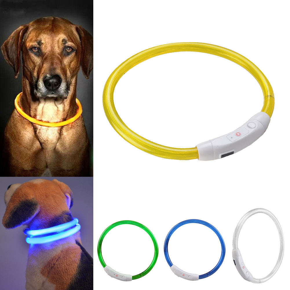 Outdoor Dog Collars USB luminous pet collar led light USB charging Cat dog collar Night Flashing Light Collar Pet supplies dog supplies silicone pet frisbee soft light training pet dog toys