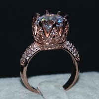 Fashion 925 Silvre Rose Gold Crown Rings Simulated Diamond CZ Jewelry Cocktail Wedding Band Ring For