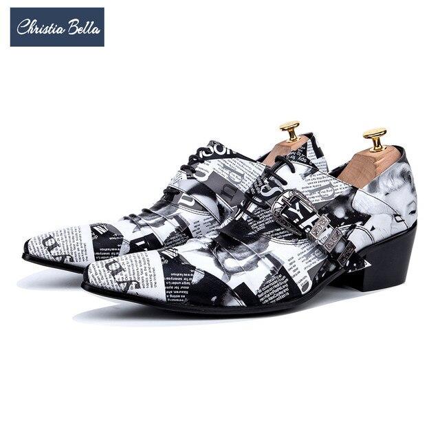 Christia Bella Fashion Newspaper Print Men Oxford Shoes Buckle Pointed Toe  Men Brogue Shoes Wedding Dress Shoes Big Size c7abe56f1b55