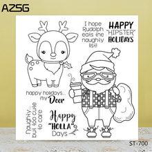 AZSG Christmas Santa Claus Reindeer Clear Stamps/Seals For DIY Scrapbooking/Card Making/Album Decorative Silicone Stamp Crafts