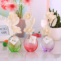 3pcs/lot 12 Scents Aroma Diffuser Oil with Gradient Glass Bottle and Dried Chinese Rose Flower 26.5x10.5x8cm Free Shipping