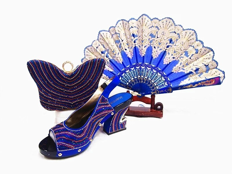 ФОТО Top Quality Italian Shoes With Matching Bags Set Blue Sandal Shoes For Party Fashion African Shoes And Bag Set For Wedding JA106