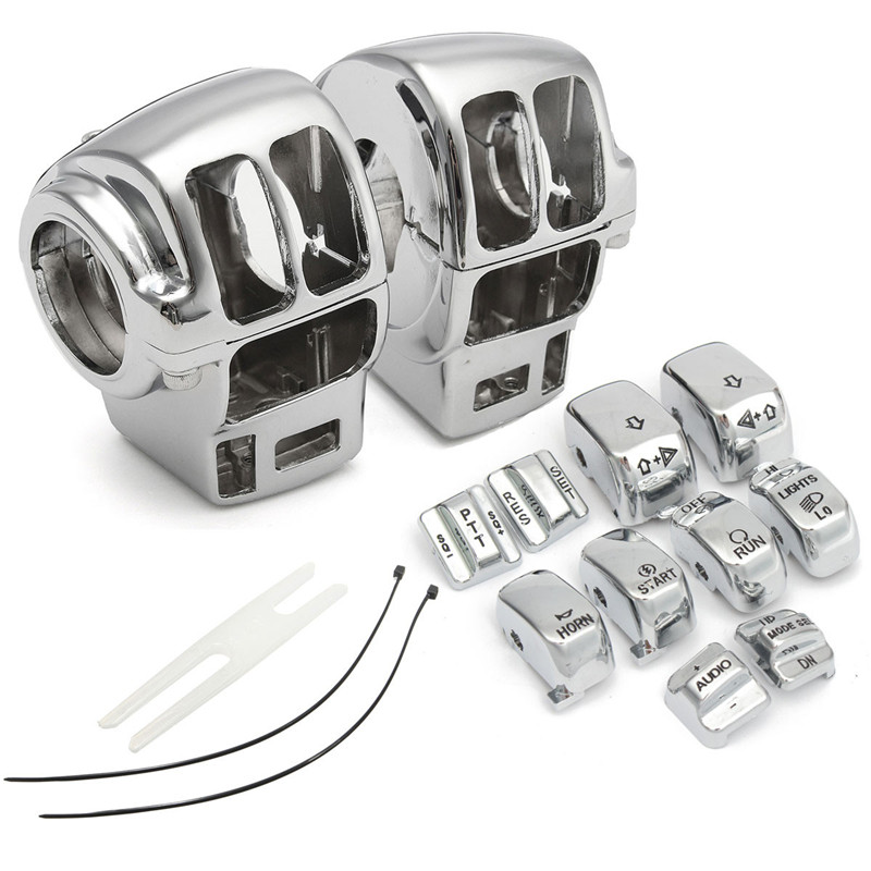 Chrome Switch Housing Cover+10 Caps for Harley 883 XL1200 Road King/Electra Glide for Harley Electra Glide Road Glide spun blade spinning axle caps chrome harley motorcycle sportster 08 13 road glides electra glides