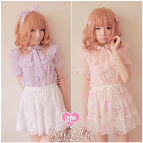 Princess sweet lolita blouse Bobon21 falbala Lace stitching chiffon shirt with bow tie cute pink or