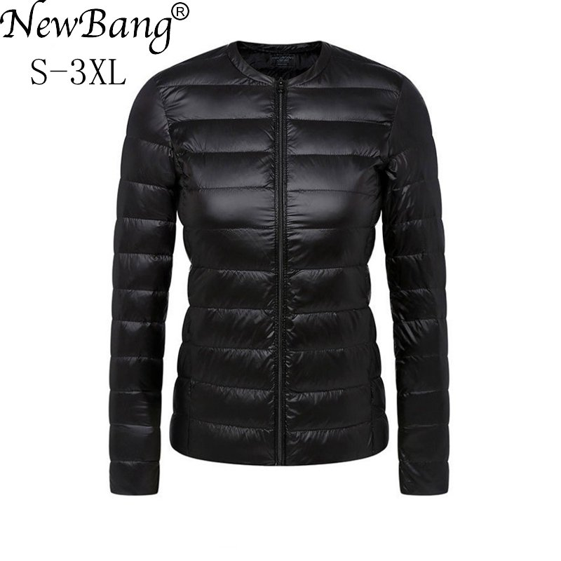 NewBang Brand Ultra Light   Down   Jacket Women Collarless   Coat   With Zipper Feather Outwear Jacket Women Slim Female Windbreaker