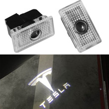 2X For Tesla MODEL 3 S X 2016 2017 2018 LED Car Door Logo Light 3D Ghost Shadow Welcome Lamp Laser Projector