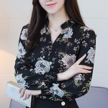 New 2018 Autumn Fashion V-Neck Chiffon Blouse Women Tops Blouses Office Slim Shirts Ladies Plus Size Blusas Femininas 622F