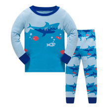 Купить с кэшбэком 2019 Summer Children Animal Pyjamas Clothing Sets Boys Long Sleeve Tops+Pants Suit Baby Kids Pajamas Set for 3-8T